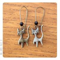 Boucles d'oreilles -  Chat bronze