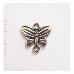 """3 connecteurs """"papillon"""" - argent vieilli"""