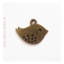 "3 breloques ""petit oiseau"" - bronze"