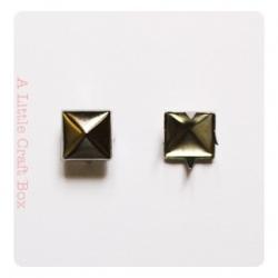 10 clous à griffe carré 7x7mm - coloris argent vieilli