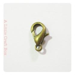 """5 fermoirs """"mousqueton"""" 12x6mm -  bronze"""