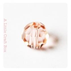 2 perles à facette ronde 8mm en cristal - rose