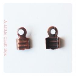 20 embouts cordes / pinces lacets 7x4mm - cuivre