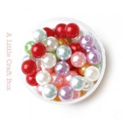40 perles rondes nacrées 8mm - panaché