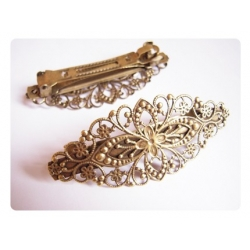 1 grande barrette fleurie  à clip -  bronze