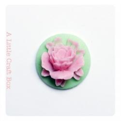 "1 cabochon rond 18mm ""fleur""   - vert / rose"