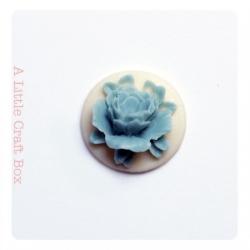 """1 cabochon rond 18mm """"fleur""""  - jaune / gris bleuté"""
