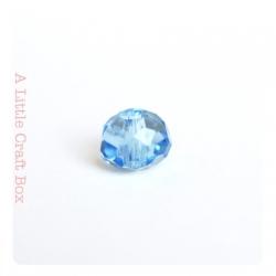 2 perles à facette ovale 8mm en cristal - bleu