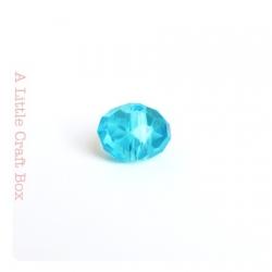 2 perles à facette ovale 8mm en cristal - turquoise
