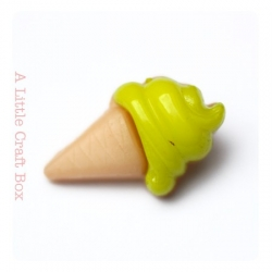 """1 bouton """"cornet de glace"""" - vert pistache"""