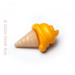 """1 bouton """"cornet de glace"""" - jaune poussin"""