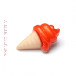 "1 bouton ""cornet de glace"" - orange sanguine"