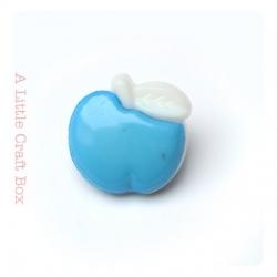"""1 bouton """"pomme"""" - bleu"""
