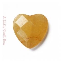 1 perle à facette coeur agate 20x20mm - jaune