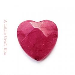 1 perle à facette coeur agate 20x20mm - fushia