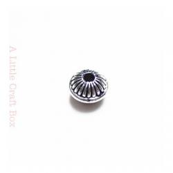 """10 perles séparatrices """"ronde à rayure"""" - argent vieilli"""