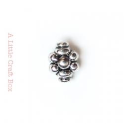 """2 perles séparatrices """"ovale fleur """" -  argent vieilli"""