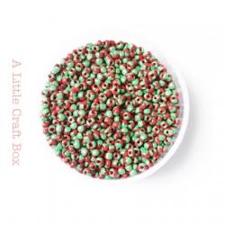 20g de perles de rocaille 2mm - bicolore rouge / vert