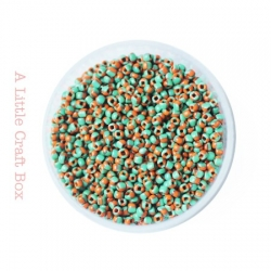 20g de perles de rocaille 2mm - bicolore orange / vert