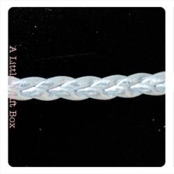 1m de cordon en simili cuir tressé 5mm - argent