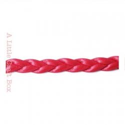 1m de cordon en simili cuir tressé 5mm - rouge