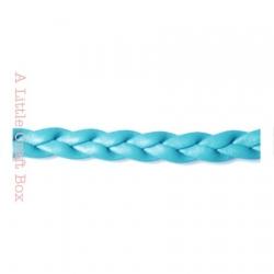 1m de cordon en simili cuir tressé 5mm - bleu