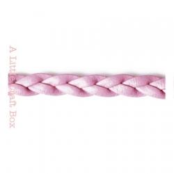 1m de cordon en simili cuir tressé 5mm - rose