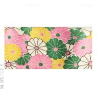 50cm  ruban en coton fleur retro 40mm - bleu / rose