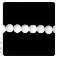 20  perles de verre opaque 8mm - blanc