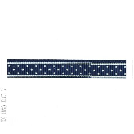 1m ruban gros grain etoiles 10mm bleu marine a little craft box. Black Bedroom Furniture Sets. Home Design Ideas