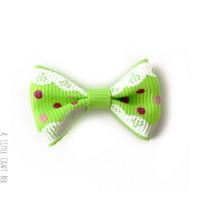 1 noeud en tissu à pois et dentelle -  vert fluo