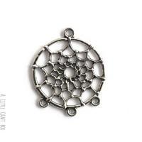 1 pendentif / connecteur Dreamcatcher - argent vieilli