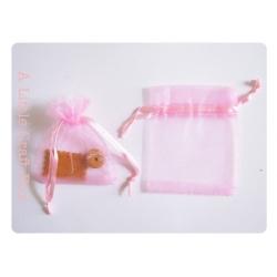 1 sachet en organza 8.5x6.5cm -  rose