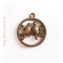 """2 breloques """"2 oiseaux perchés"""" - bronze"""