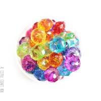20 perles en acrylique à facette 10x7mm  -  panaché