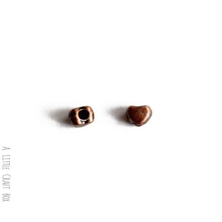 20 perles séparatrices coeur -  cuivre