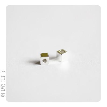 10 perles séparatrices Cube  -  argent