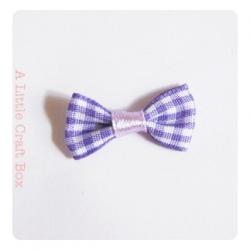 1 noeud en tissu imprimé vichy - violet