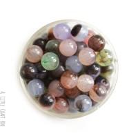 20 perles pierre naturelle - panaché
