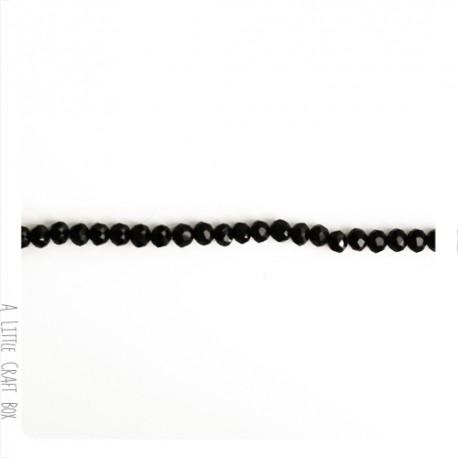 10  perles à facette ovale 4mm en cristal - noir