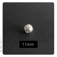 2 perles filigranées 11mm en métal - argent