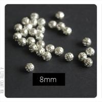 3 perles filigranées 8mm en métal - argent