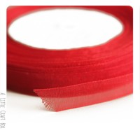 1m Ruban en organza  10mm - rouge