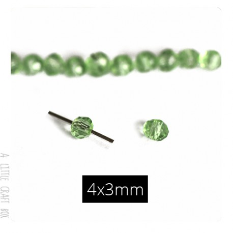 10 perles à facette ovale style 4x3mm -  vert émeraude transparente
