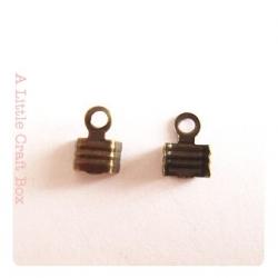 20 embouts cordes / pinces lacets 7x5mm -  bronze