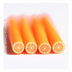 """1 cane """"orange"""" en pâte polymère"""