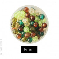 30  perles de verre craquelées 6mm - foret