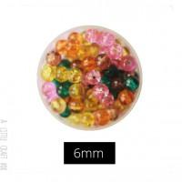 30  perles de verre craquelées 6mm - acidulés