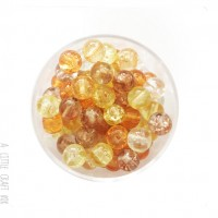 30  perles de verre craquelées 6mm - automne