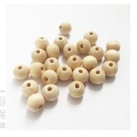 40 perles en bois ronde 10mm
